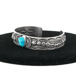 "Stamped Applique Turquoise Cuff by Randall Joe Tom (5.5"")"
