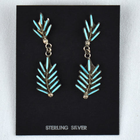 Sterling Silver Pine Needle Dangle Earrings