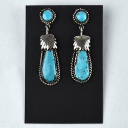 Sterling Silver Two-Piece Drop Leaf Top Kingman Turquoise Earrings