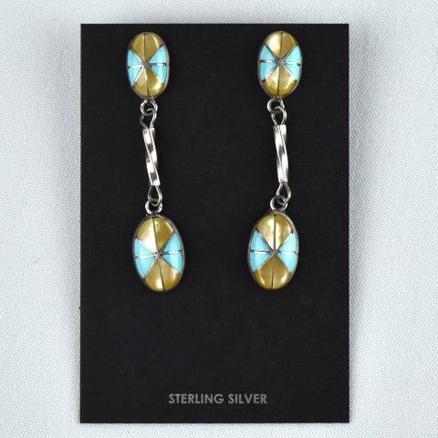 Sterling Silver Two Piece Inlay Dangle Yellow Lip, Mother-of-Pearl, & Turquoise Earrings