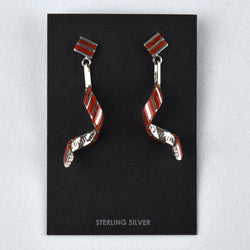 Sterling Silver Coral Stripe Swirl Earrings