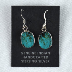 Sterling Silver Miniature Drop Slab Kingman Turquoise Earrings