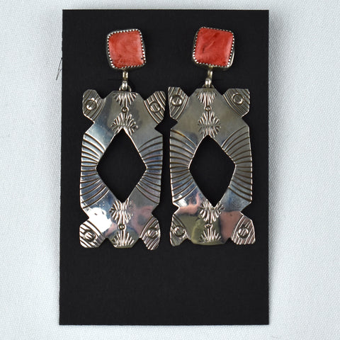 Sterling Silver Two Piece Stamped Orange Spiny Dangle Earrings