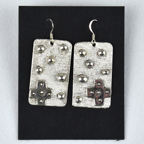 Sterling Silver Square Cross & Dots Earrings