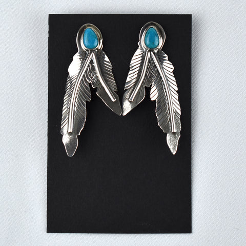Sterling Silver Split Feather Kingman Turquoise Earrings