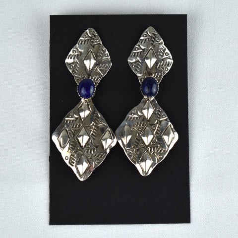 Sterling Silver Double Diamond Lapis Earrings