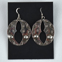 Sterling Silver Stamped Open Center Earrings