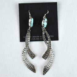 Sterling Silver Two Piece Turquoise Mountain Turquoise Wave Earrings