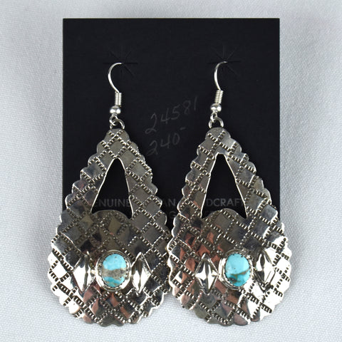 Sterling Silver Large Open Stamped Teardrop Earrings