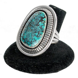 Sterling Silver Lander Turquoise Ring (Size 7) by Lonnie Willie