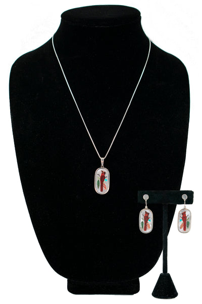 Sterling Silver Inlay Cardinal Pendant and Earrings Set by Harlan Coonsis (Chain not included)