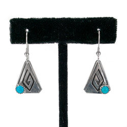 Sterling Silver Overlay Earrings with Turquoise by Peter Nelson