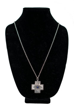 Sterling Silver & Lapis Lazuli Southwestern Cross Necklace by KRS