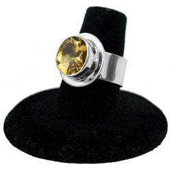 Sterling Silver & Simulated Citrine Ring by Philbert Secatero (Size 7)