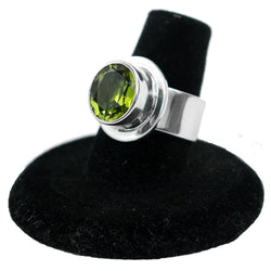 Sterling Silver & Simulated Peridot Ring by Philbert Secatero (Size 7)