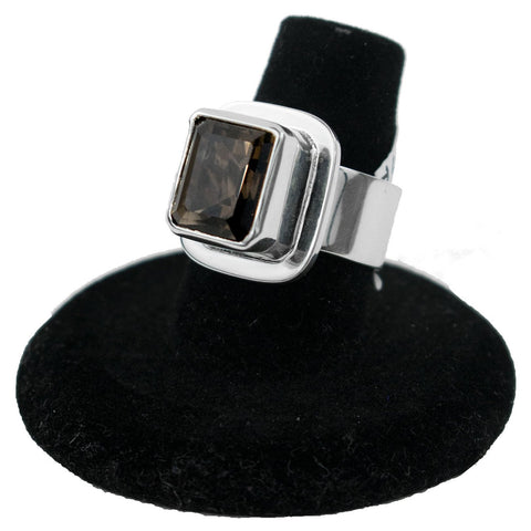 Sterling Silver & Simulated Smokey Quartz Ring by Philbert Secatero (Size 7)