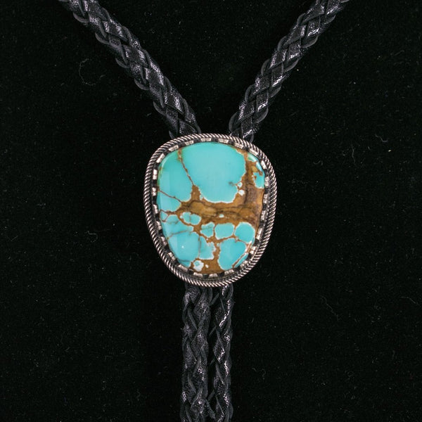 Single Stone Stamped Edge Bolo Tie by Curtis Pete