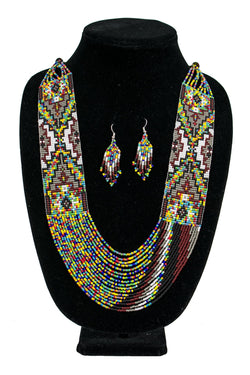 Beaded Necklace and Earring Set by Rena Charles