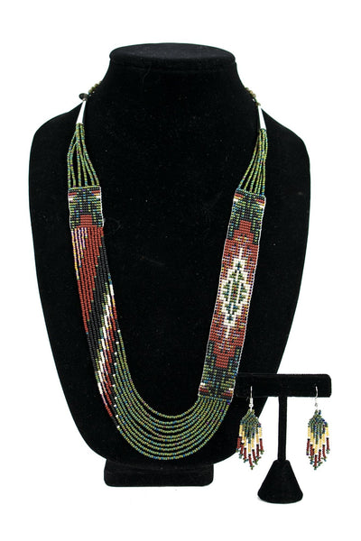 "1"" Wide Beaded Necklace & Earring Set by Rena Charles"