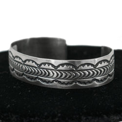 Sterling Silver Stamped Cuff by Philbert Secatero