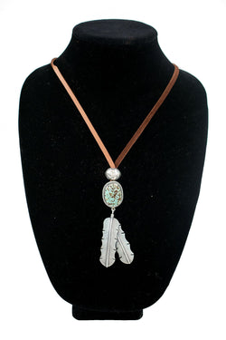 Double Feather Turquoise Necklace by Curtis Pete