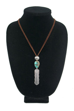 Single Feather Sierra Nevada Turquoise Necklace by Curtis Pete