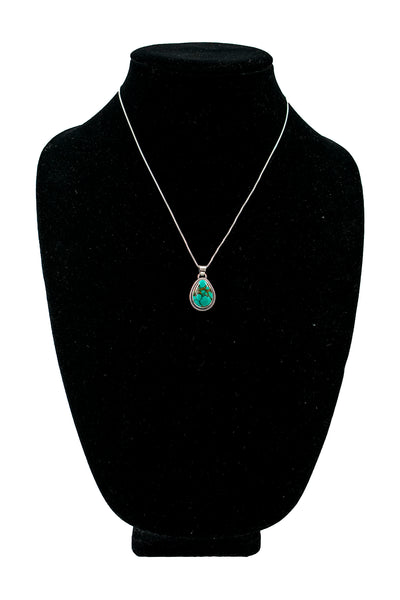 Single Oval Stone Turquoise Necklace by Philbert Secatero