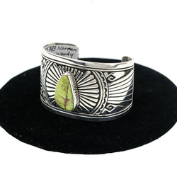 Applique Overlay Gaspeite Cuff Bracelet by Norman Woody