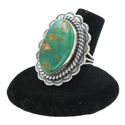 Pilot Mountain Turquoise Ring by Curtis Pete (Size 8)