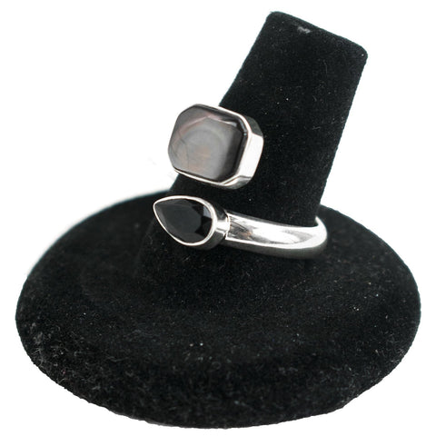 Adjustable Onyx & Black Lip Mother of Pearl Ring