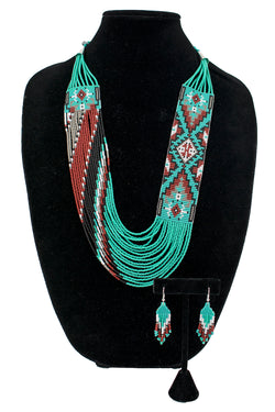 Bead Necklace & Earring Set by Rena Charles