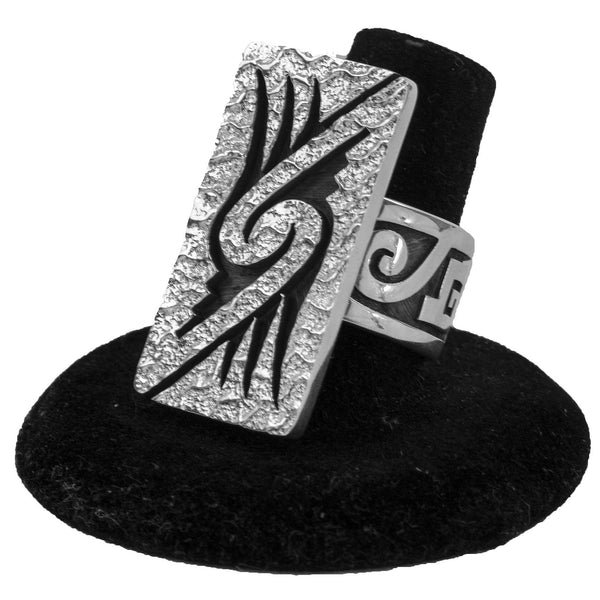 Sterling Silver Overlay Ring by Ruben Saufkie (Size 8.5)