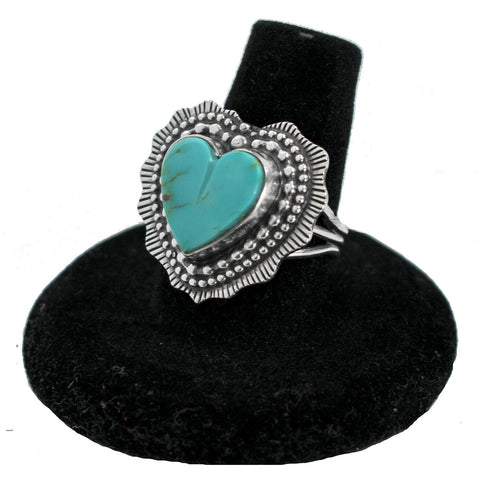 Kingman Turquoise Heart Ring by Curtis Pete (Size 8.5)