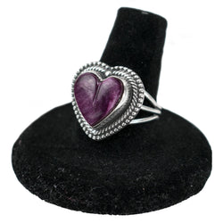 Purple Spiny Heart Ring by Curtis Pete (Size 8)