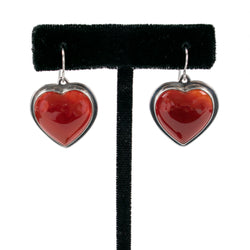 Carnelian Heart Earrings by Nathan George