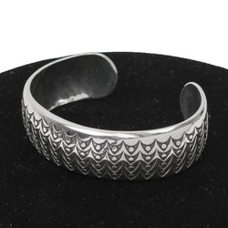 Grain Field Stamped Sterling Silver Cuff by Norbert Peshlakai