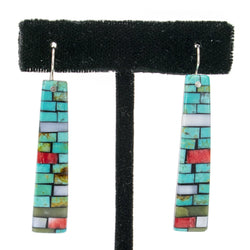 Mosaic Inlay Earrings by Charlene and Frank Reano