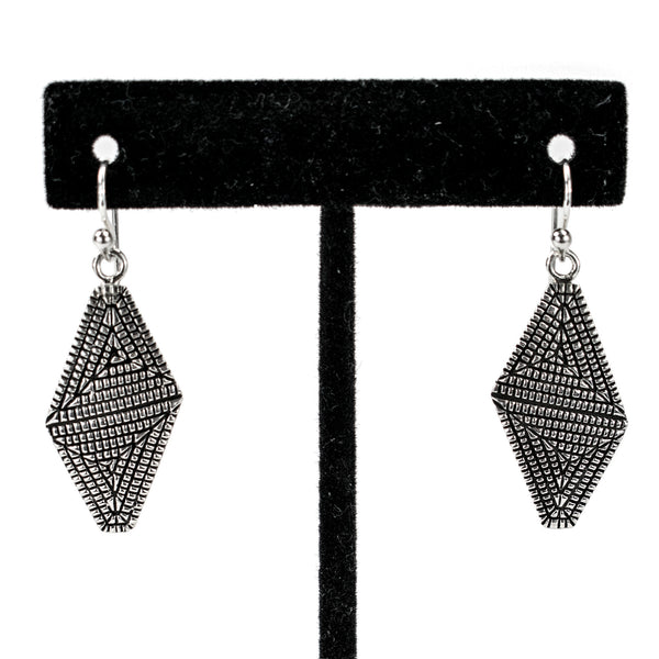 Sterling Silver Maze Trapezoid Earrings by Elgin Tom