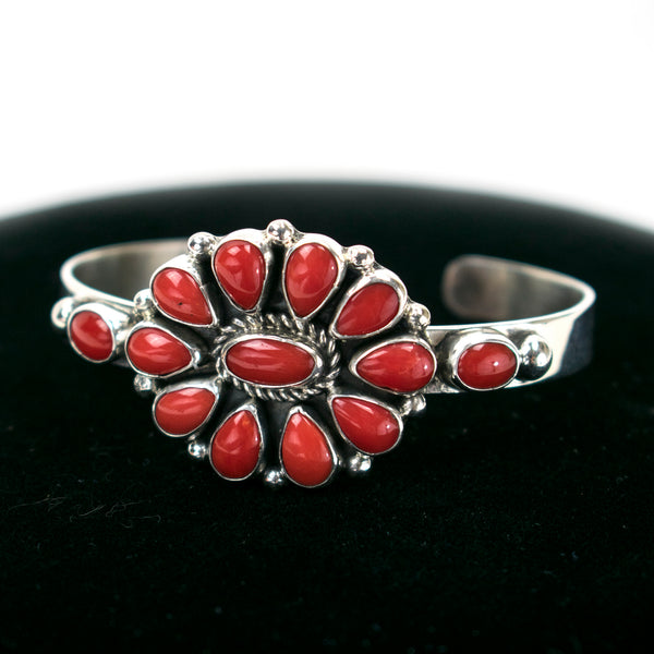 Coral Cluster Cuff Bracelet by Clarissa Hale
