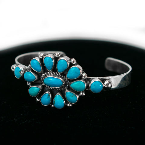 Sleeping Beauty Turquoise Cluster Cuff Bracelet by Clarissa Hale
