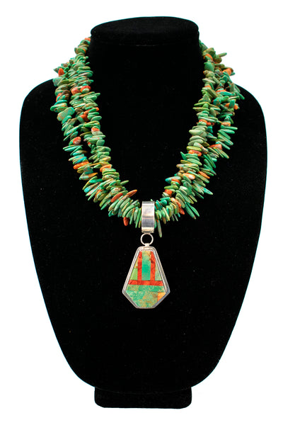 Triple Strand Royston Turquoise Necklace with Pendant by Nestoria Coriz