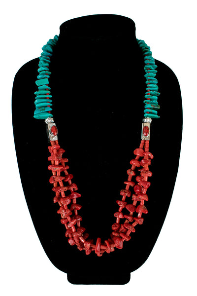 Turquoise and Mediterranean Coral Necklace by Nestoria Coriz
