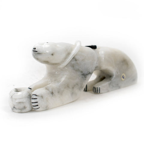 Alabaster Mountain Lion Carving by Rickson Kalestewa