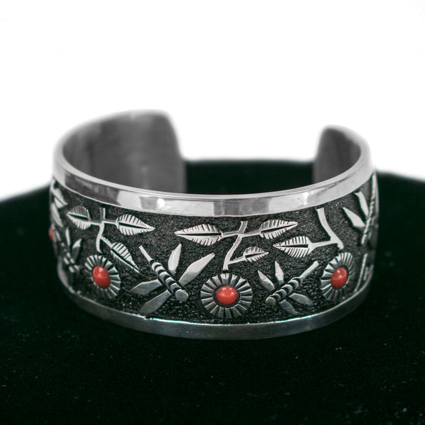 Coral Dragonfly Cuff by Philbert Begay