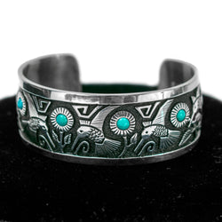 Turquoise Hummingbird Cuff by Philbert Begay