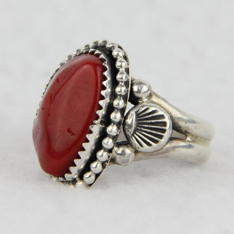 Coral and Sterling Silver Beaded Ring