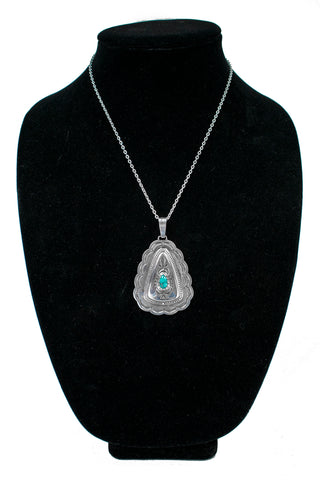 Turquoise Stamped Pendant by Fidel Bahe