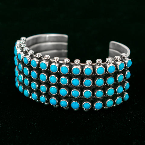 Sterling Silver 4 Row Sleeping Beauty Dots Bracelet by Diane Wylie