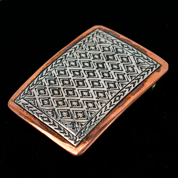 Sterling Silver and Copper Buckle by Randy Secatero & Sylvana Apache