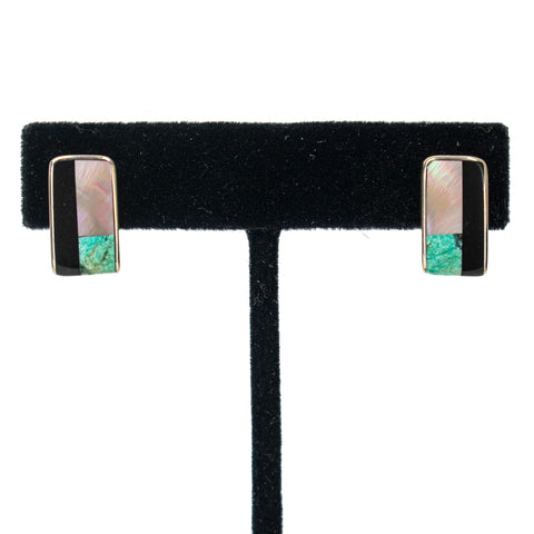 Multistone Inlay Earrings by Jimmy Poyer